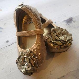 Stuart Weitzman Gold Crib Baby Shoes Size 3